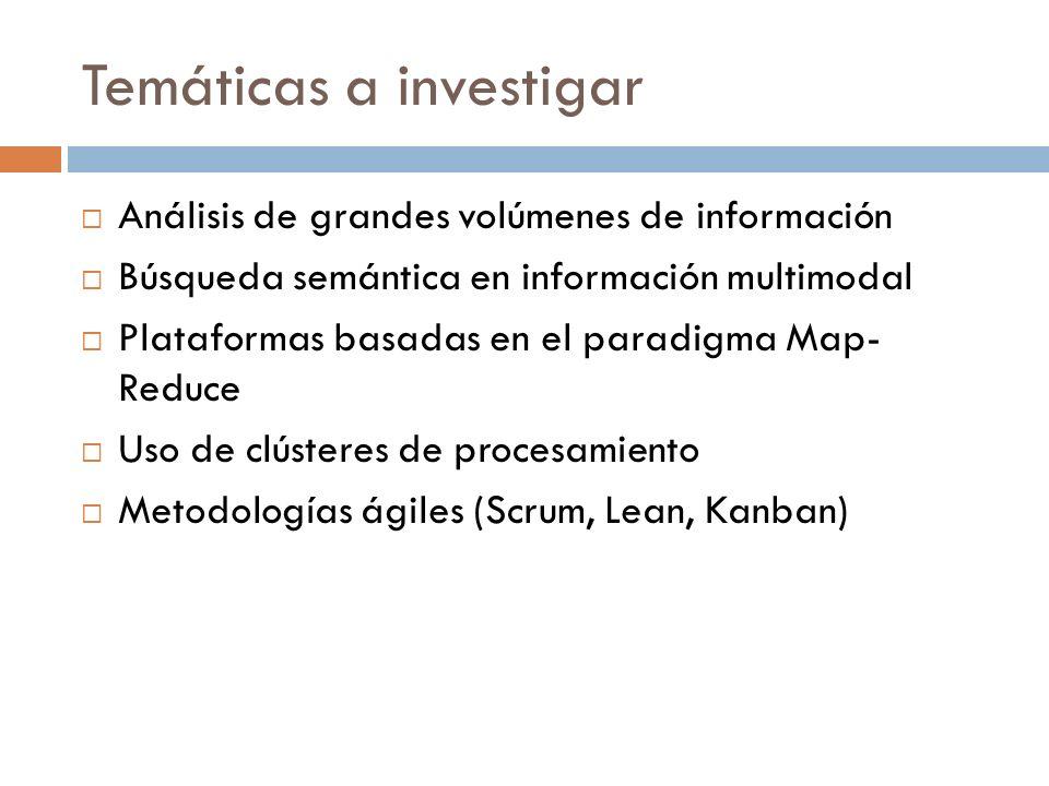 Temáticas a investigar Análisis de grandes volúmenes de información Búsqueda semántica en información multimodal Plataformas basadas en el paradigma M