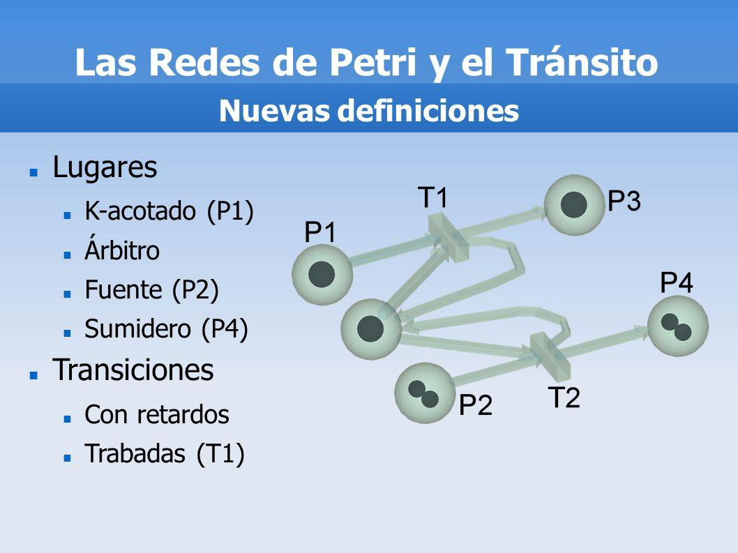 Las Redes de Petri y el Tránsito Nuevas definiciones Lugares K-acotado (P1) Árbitro Fuente (P2) Sumidero (P4) Transiciones Con retardos Trabadas (T1)