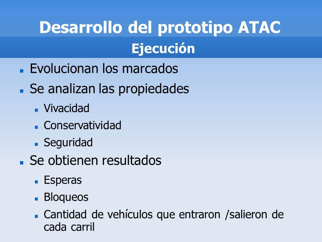 Desarrollo del prototipo ATAC Evolucionan los marcados Se analizan las propiedades Vivacidad Conservatividad Seguridad Se obtienen resultados Esperas