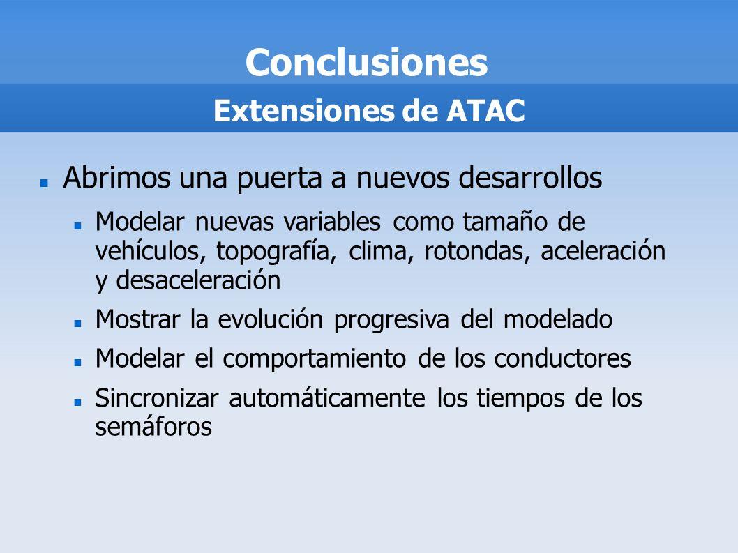 Conclusiones Extensiones de ATAC Abrimos una puerta a nuevos desarrollos Modelar nuevas variables como tamaño de vehículos, topografía, clima, rotonda