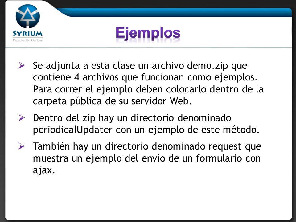 Se adjunta a esta clase un archivo demo.zip que contiene 4 archivos que funcionan como ejemplos. Para correr el ejemplo deben colocarlo dentro de la c