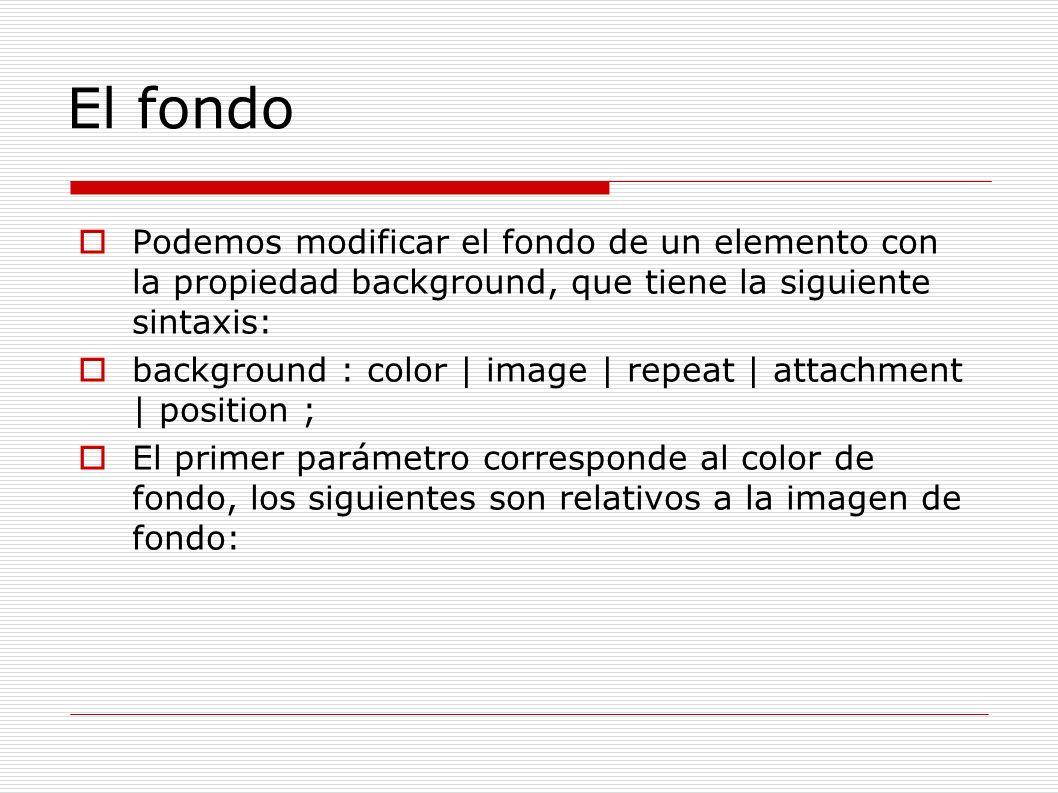 El fondo Podemos modificar el fondo de un elemento con la propiedad background, que tiene la siguiente sintaxis: background : color | image | repeat |