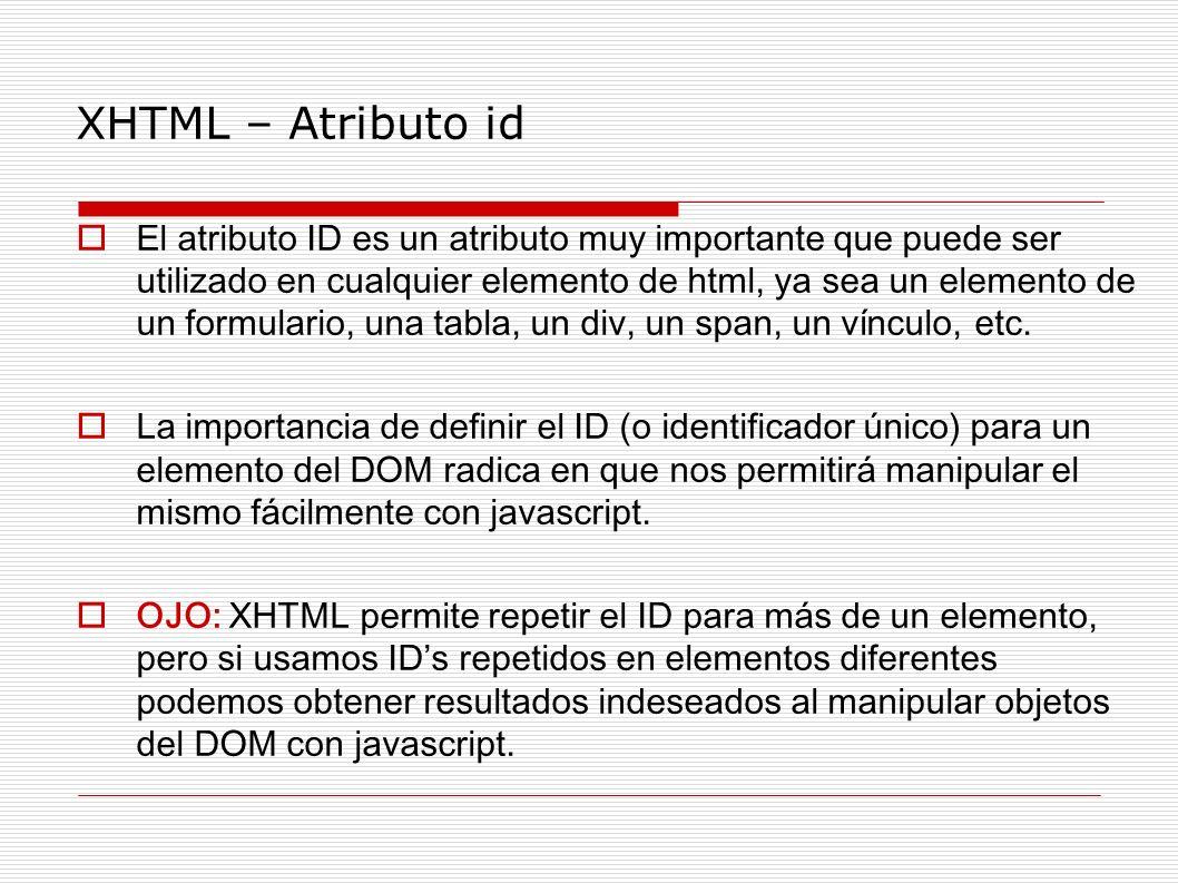 XHTML – Atributo id El atributo ID es un atributo muy importante que puede ser utilizado en cualquier elemento de html, ya sea un elemento de un formu