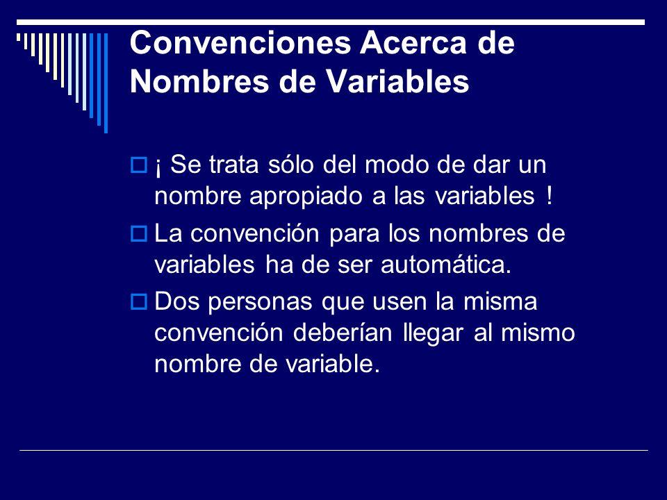 Ventajas del uso de estándares Se puede saber el tipo de dato de cada variable con sólo ver el nombre de la variable.