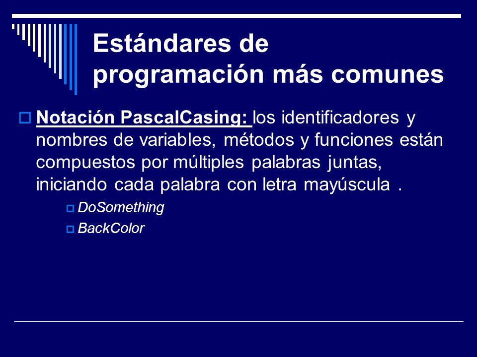 Estándares de programación más comunes Notación camelCasing: Es parecido al Pascal- Casing pero la letra inicial del identificador no debe estar en mayúscula.
