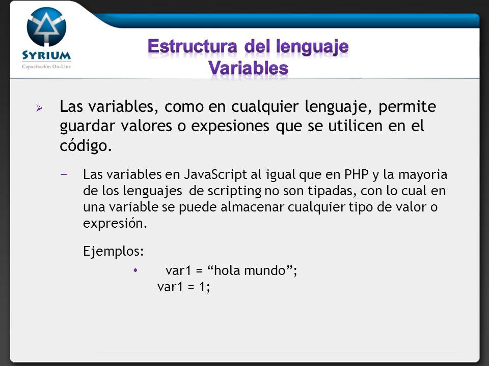 Declaración de variables.