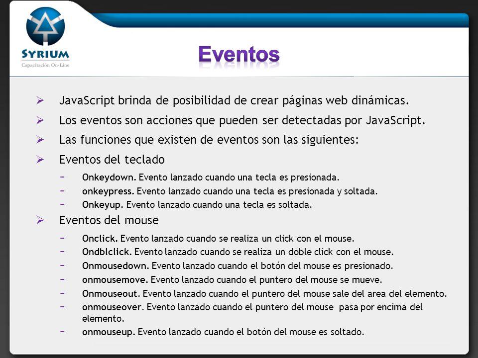 Eventos en Onblur.Evento lanzado cuando se pierde el foco.