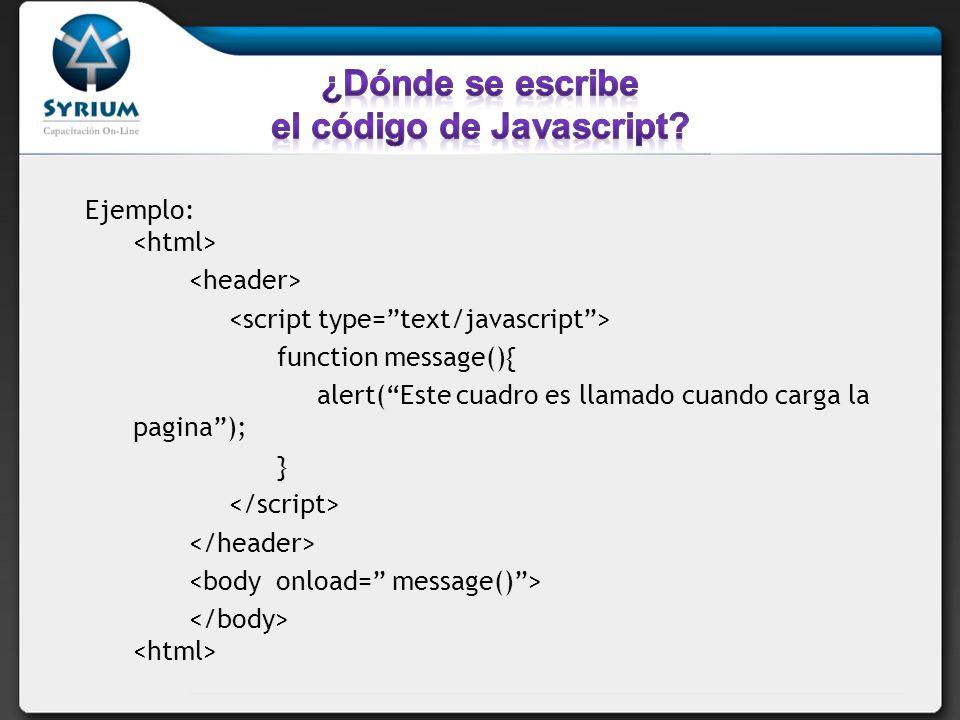 Si quiere solamente ejecutar secuencia de comandos sin realizar funciones debe escribirlo en el document.write ( Este mensaje está escrito por JavaScript );