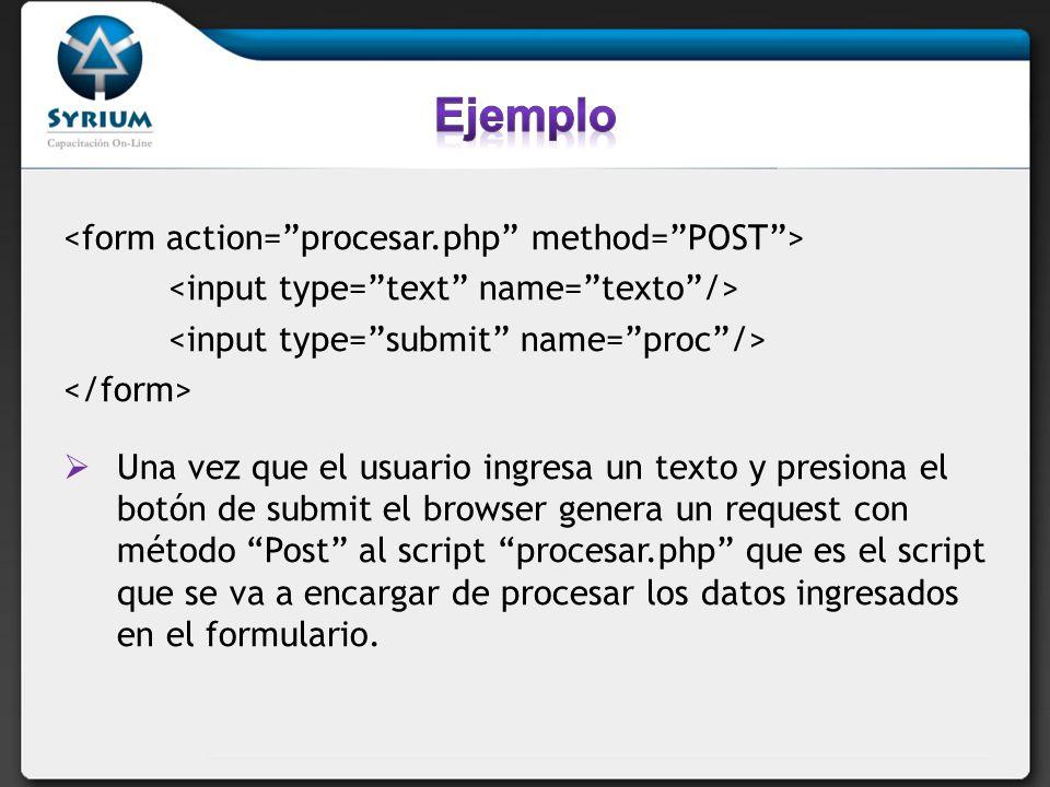 Una vez que el usuario ingresa un texto y presiona el botón de submit el browser genera un request con método Post al script procesar.php que es el sc