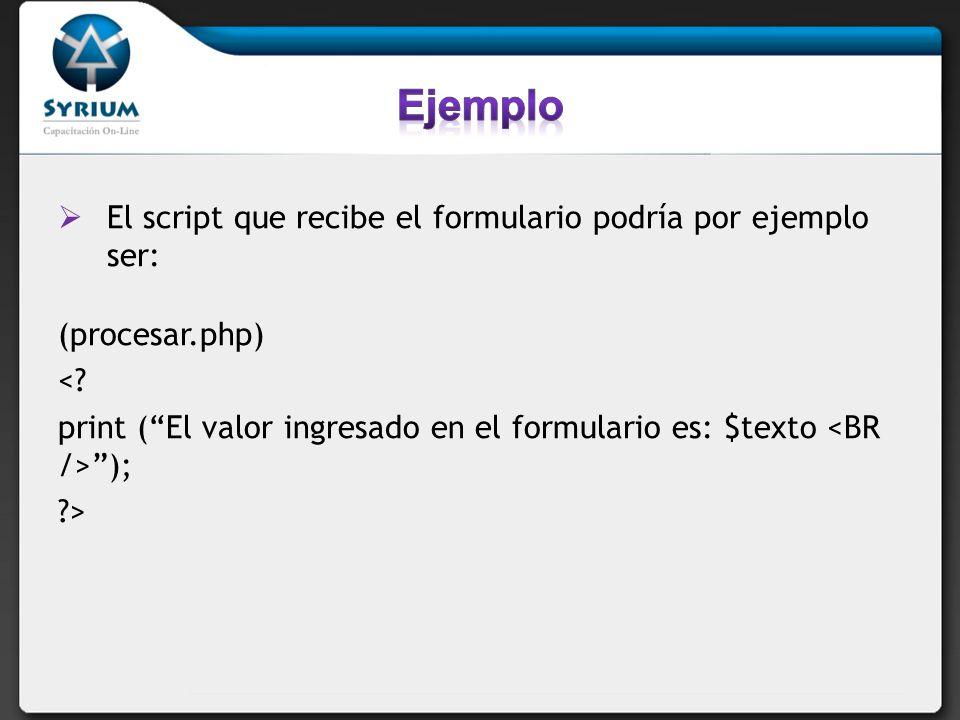 El script que recibe el formulario podría por ejemplo ser: (procesar.php) <? print (El valor ingresado en el formulario es: $texto ); ?>