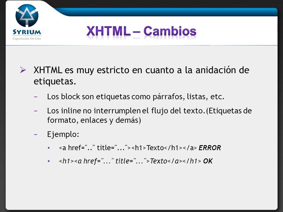 XHTML es muy estricto en cuanto a la anidación de etiquetas. Los block son etiquetas como párrafos, listas, etc. Los inline no interrumplen el flujo d