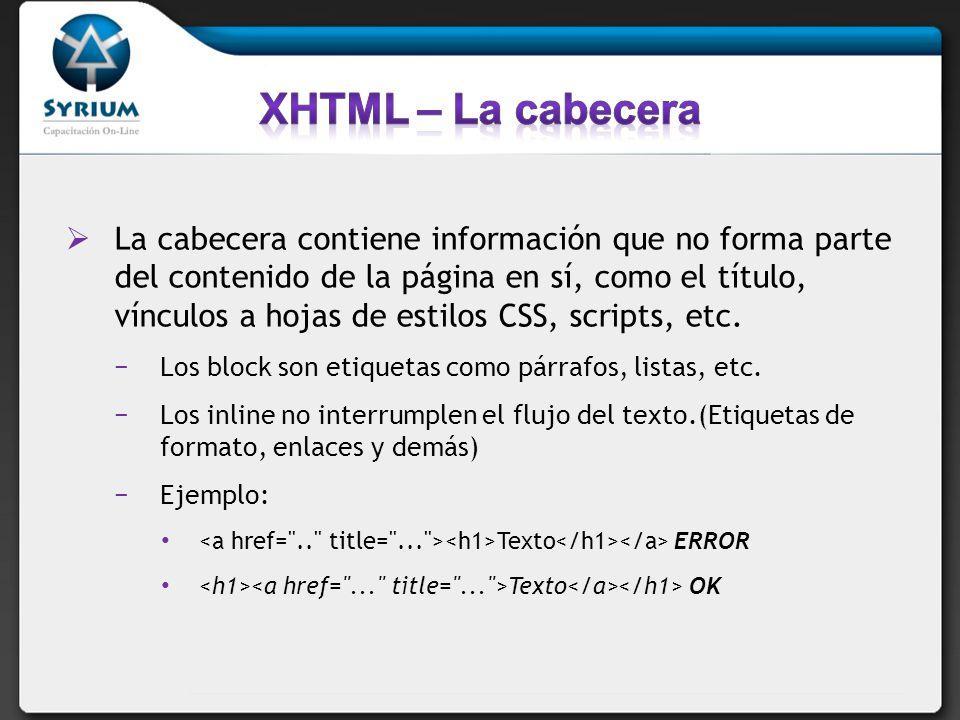 La cabecera contiene información que no forma parte del contenido de la página en sí, como el título, vínculos a hojas de estilos CSS, scripts, etc. L