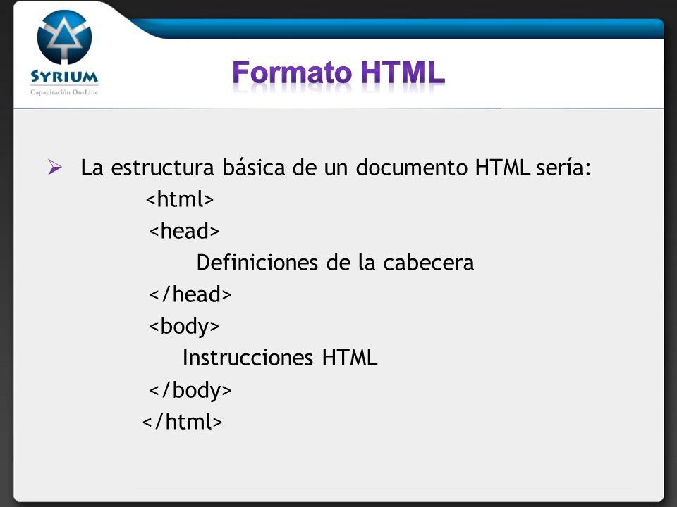 La estructura básica de un documento HTML sería: Definiciones de la cabecera Instrucciones HTML