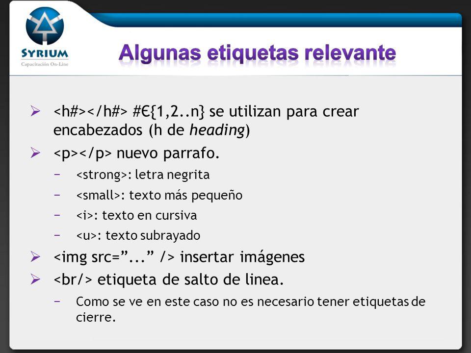 #Є{1,2..n} se utilizan para crear encabezados (h de heading) nuevo parrafo. : letra negrita : texto más pequeño : texto en cursiva : texto subrayado i