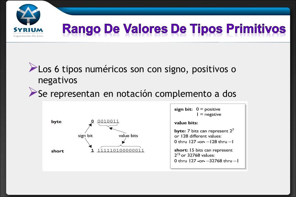 Los 6 tipos numéricos son con signo, positivos o negativos Se representan en notación complemento a dos