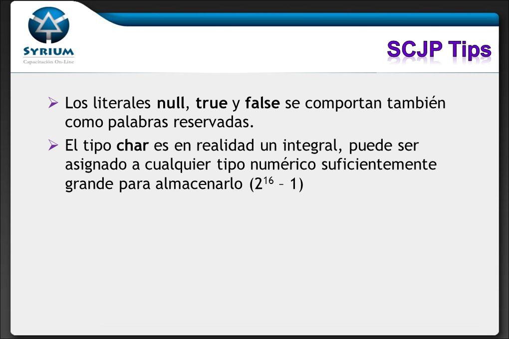 Los literales null, true y false se comportan también como palabras reservadas. El tipo char es en realidad un integral, puede ser asignado a cualquie