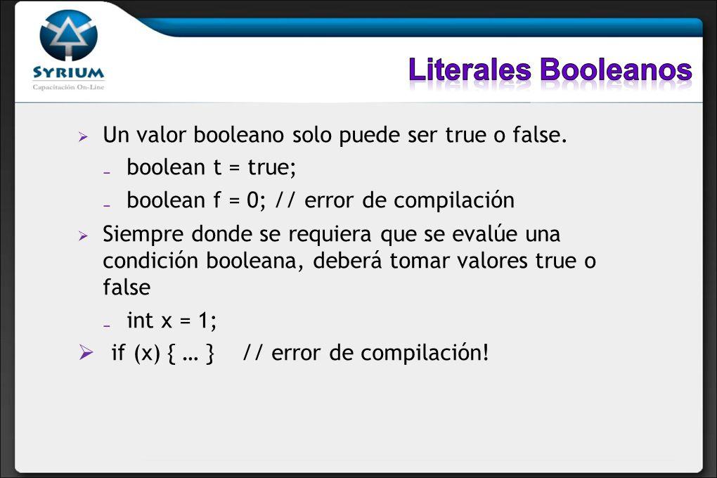 Un valor booleano solo puede ser true o false. boolean t = true; boolean f = 0; // error de compilación Siempre donde se requiera que se evalúe una co