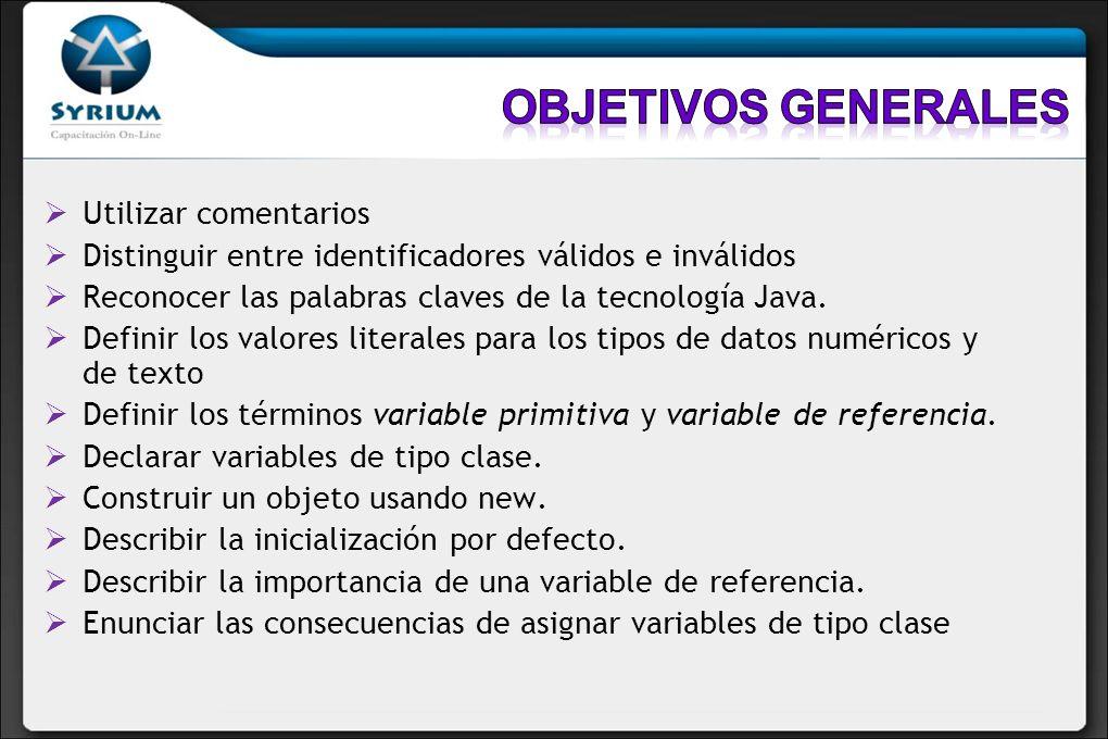 Utilizar comentarios Distinguir entre identificadores válidos e inválidos Reconocer las palabras claves de la tecnología Java. Definir los valores lit