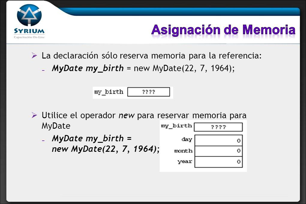 La declaración sólo reserva memoria para la referencia: MyDate my_birth = new MyDate(22, 7, 1964); Utilice el operador new para reservar memoria para