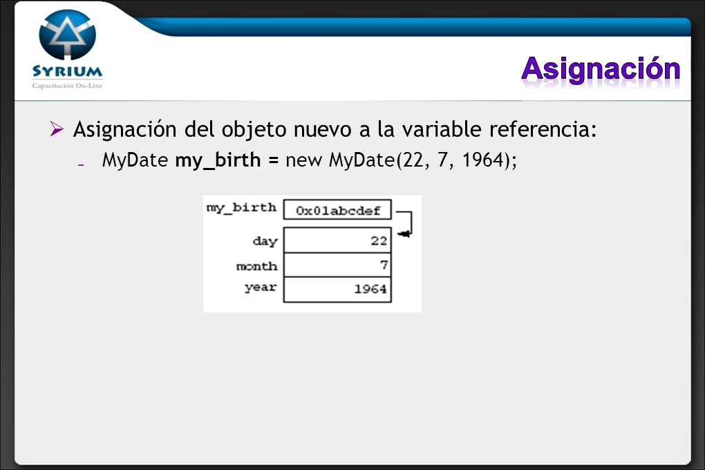 Asignación del objeto nuevo a la variable referencia: MyDate my_birth = new MyDate(22, 7, 1964);