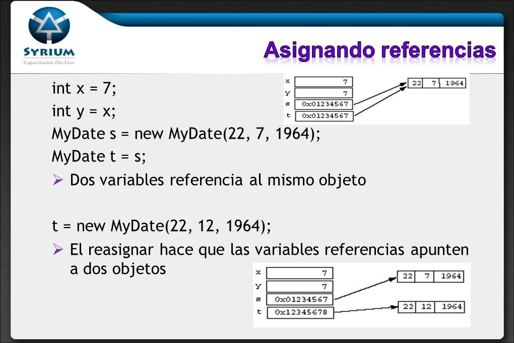 int x = 7; int y = x; MyDate s = new MyDate(22, 7, 1964); MyDate t = s; Dos variables referencia al mismo objeto t = new MyDate(22, 12, 1964); El reas