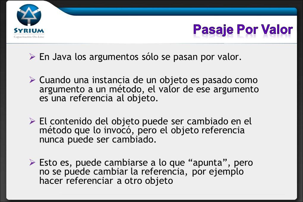 En Java los argumentos sólo se pasan por valor. Cuando una instancia de un objeto es pasado como argumento a un método, el valor de ese argumento es u