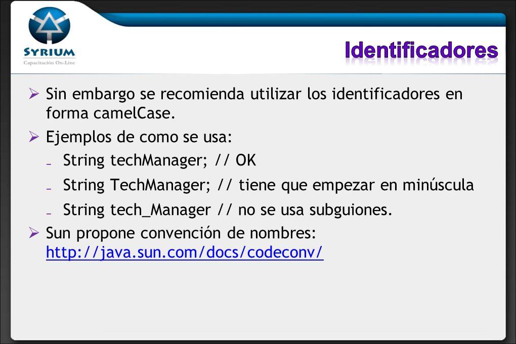 Sin embargo se recomienda utilizar los identificadores en forma camelCase. Ejemplos de como se usa: String techManager; // OK String TechManager; // t