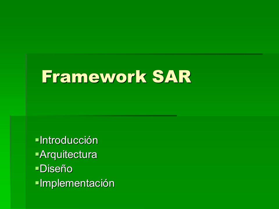 Introducción Introducción Arquitectura Arquitectura Diseño Diseño Implementación Implementación Framework SAR