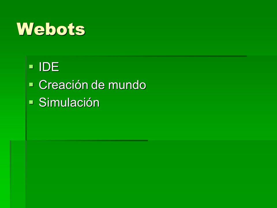 Webots IDE IDE Creación de mundo Creación de mundo Simulación Simulación