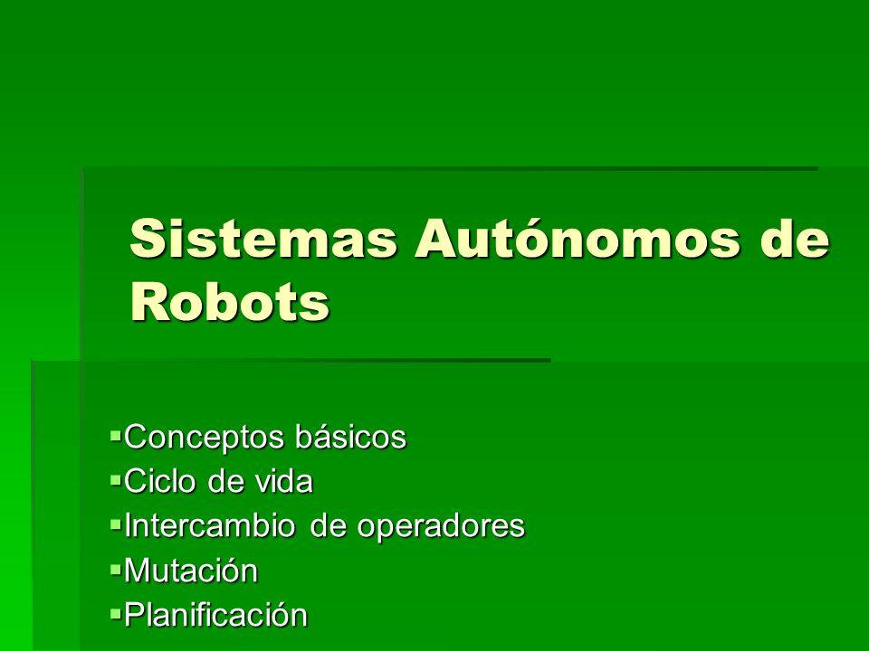 Conceptos básicos Conceptos básicos Ciclo de vida Ciclo de vida Intercambio de operadores Intercambio de operadores Mutación Mutación Planificación Planificación Sistemas Autónomos de Robots