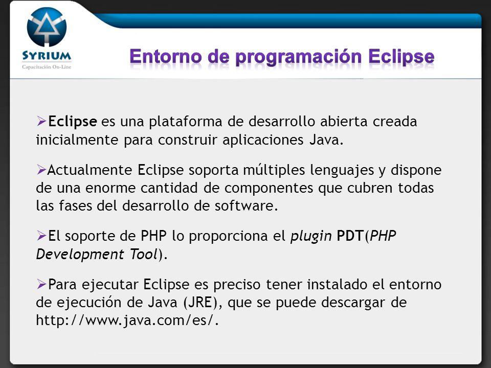Eclipse es una plataforma de desarrollo abierta creada inicialmente para construir aplicaciones Java.