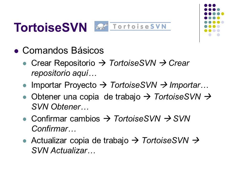 Comandos Básicos Crear Repositorio TortoiseSVN Crear repositorio aquí… Importar Proyecto TortoiseSVN Importar… Obtener una copia de trabajo TortoiseSV