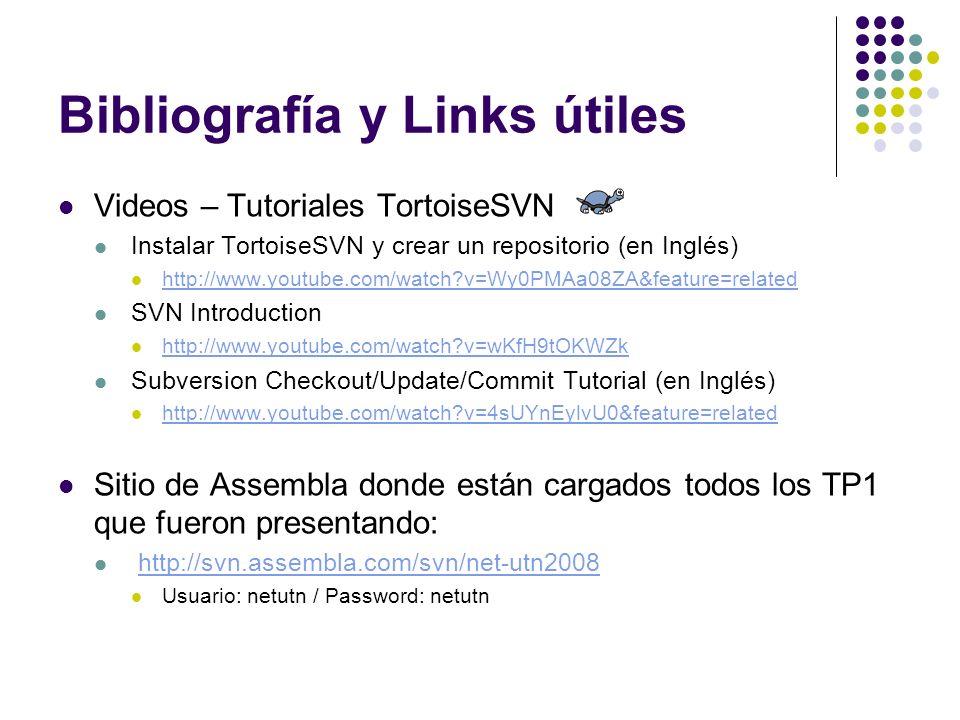 Bibliografía y Links útiles Videos – Tutoriales TortoiseSVN Instalar TortoiseSVN y crear un repositorio (en Inglés) http://www.youtube.com/watch?v=Wy0