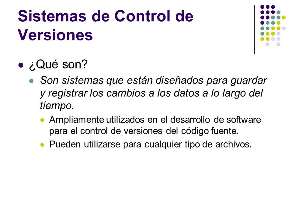 Sistemas de Control de Versiones ¿Qué son? Son sistemas que están diseñados para guardar y registrar los cambios a los datos a lo largo del tiempo. Am