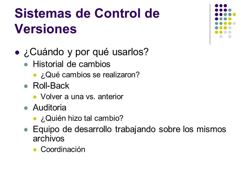 Sistemas de Control de Versiones ¿Cuándo y por qué usarlos? Historial de cambios ¿Qué cambios se realizaron? Roll-Back Volver a una vs. anterior Audit