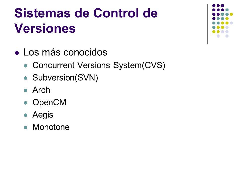 Subversion Sistema de control de versiones Centralizado Software Libre Código fuente abierto Diseñado para reemplazar a CVS(y mejorarlo) Algunas mejoras: Atomicidad en las operaciones Versionado de directorios Verdadero historial de versiones