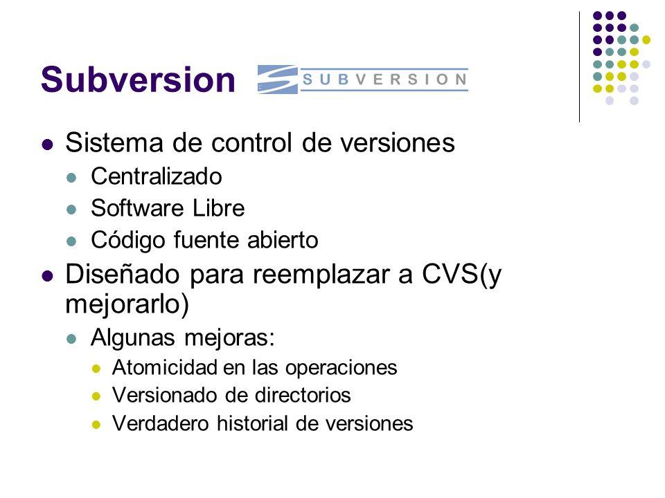 Subversion Sistema de control de versiones Centralizado Software Libre Código fuente abierto Diseñado para reemplazar a CVS(y mejorarlo) Algunas mejor
