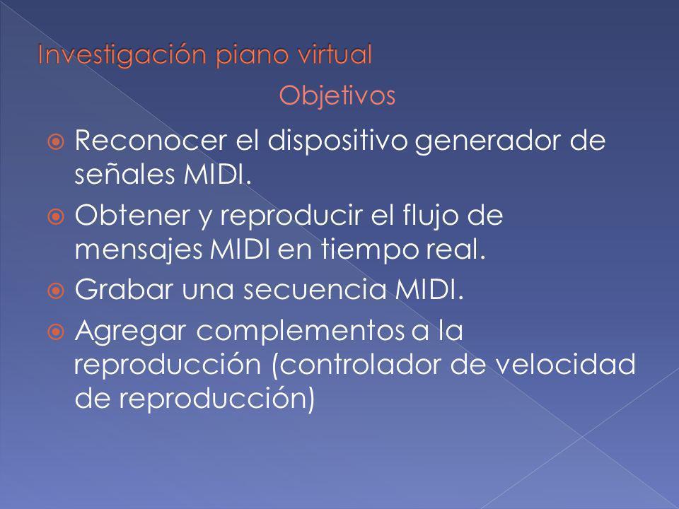 Reconocer el dispositivo generador de señales MIDI. Obtener y reproducir el flujo de mensajes MIDI en tiempo real. Grabar una secuencia MIDI. Agregar