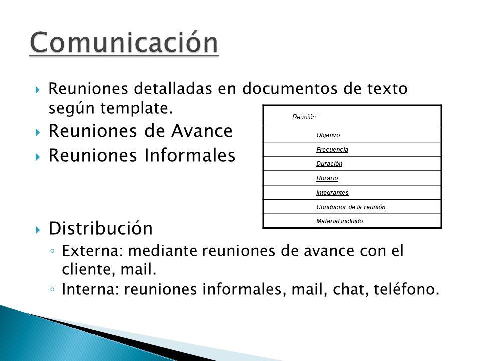 Reuniones detalladas en documentos de texto según template. Reuniones de Avance Reuniones Informales Distribución Externa: mediante reuniones de avanc