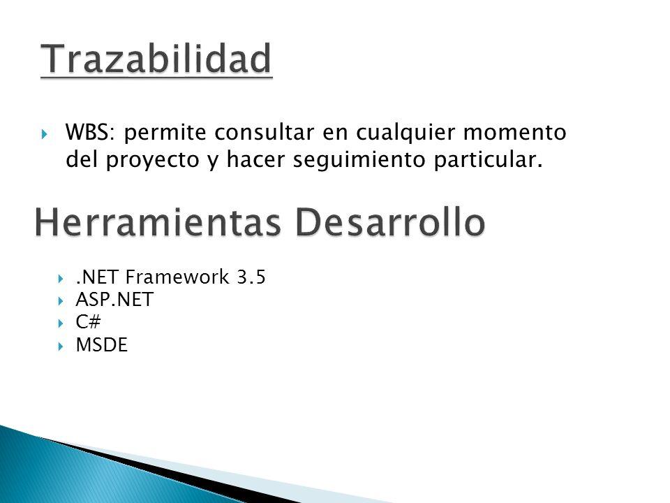 WBS: permite consultar en cualquier momento del proyecto y hacer seguimiento particular..NET Framework 3.5 ASP.NET C# MSDE