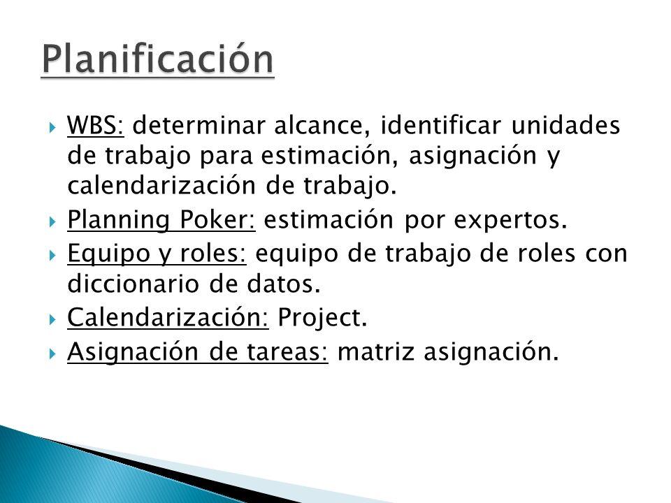 WBS: determinar alcance, identificar unidades de trabajo para estimación, asignación y calendarización de trabajo. Planning Poker: estimación por expe
