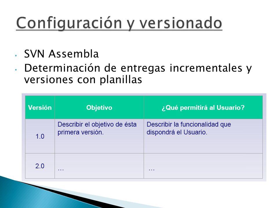 SVN Assembla Determinación de entregas incrementales y versiones con planillas