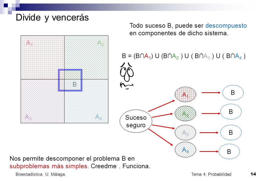 Tema 4: Probabilidad 14 Bioestadística. U. Málaga. Divide y vencerás A1A1 A2A2 A3A3 A4A4 B Todo suceso B, puede ser descompuesto en componentes de dic