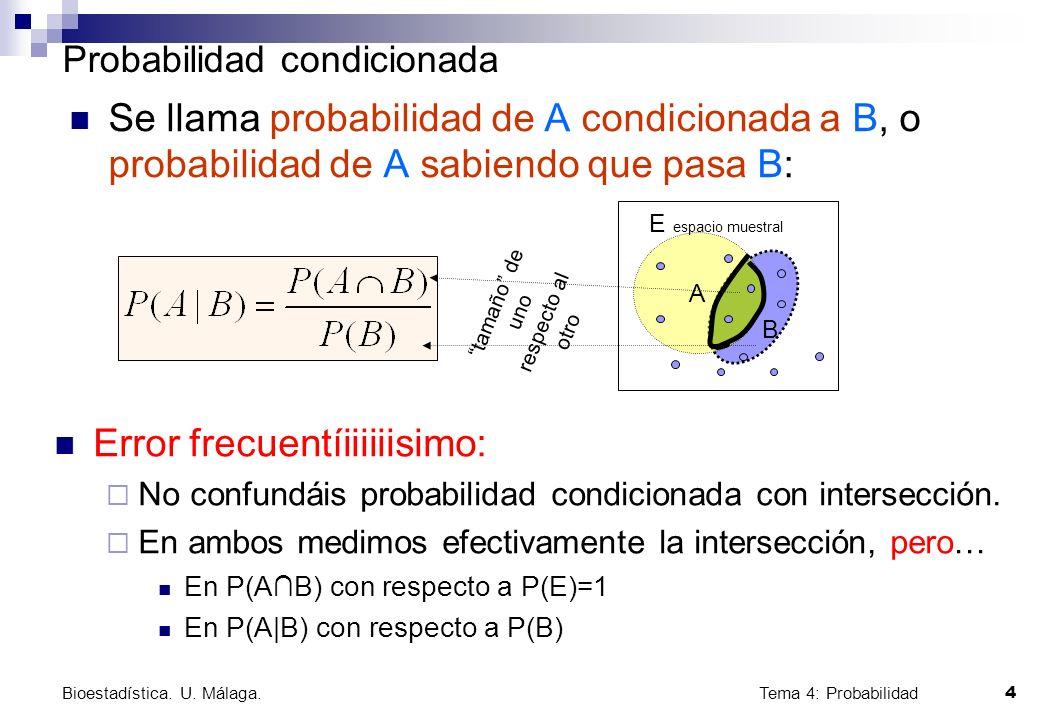 Tema 4: Probabilidad 4 Bioestadística. U. Málaga. A Probabilidad condicionada Se llama probabilidad de A condicionada a B, o probabilidad de A sabiend