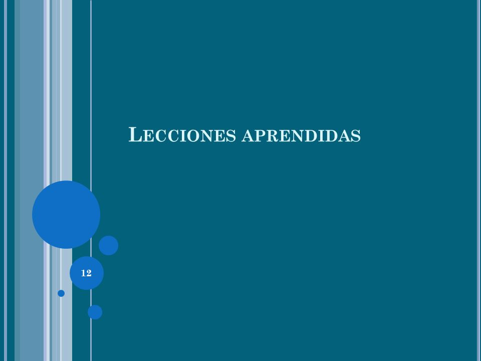 12 L ECCIONES APRENDIDAS