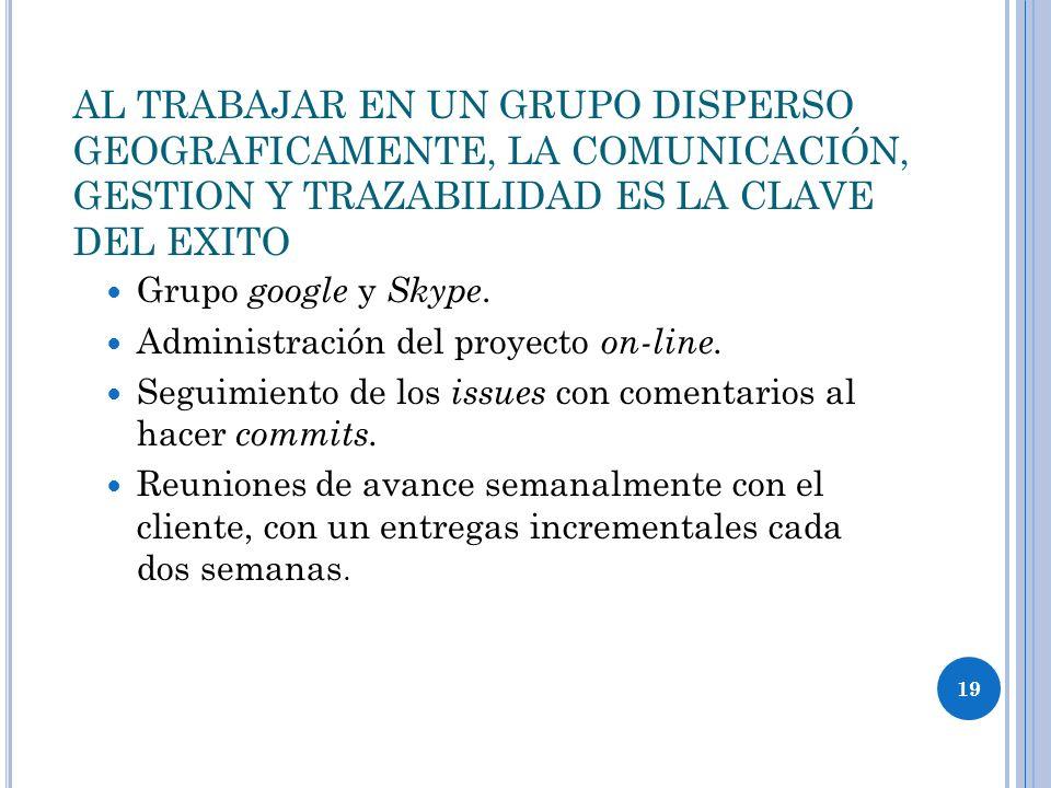 19 AL TRABAJAR EN UN GRUPO DISPERSO GEOGRAFICAMENTE, LA COMUNICACIÓN, GESTION Y TRAZABILIDAD ES LA CLAVE DEL EXITO Grupo google y Skype. Administració