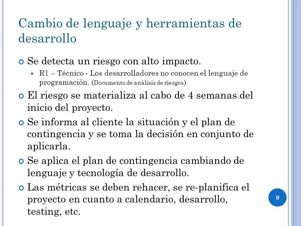 9 Cambio de lenguaje y herramientas de desarrollo Se detecta un riesgo con alto impacto. R1 – Técnico - Los desarrolladores no conocen el lenguaje de