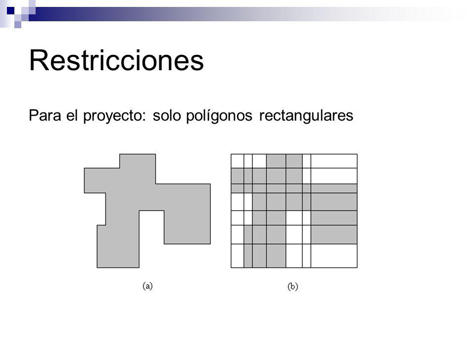 Restricciones Para el proyecto: solo polígonos rectangulares