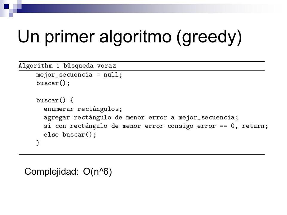 Un primer algoritmo (greedy) Complejidad: O(n^6)