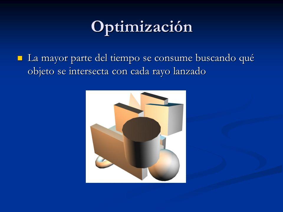 Optimización La mayor parte del tiempo se consume buscando qué objeto se intersecta con cada rayo lanzado La mayor parte del tiempo se consume buscand